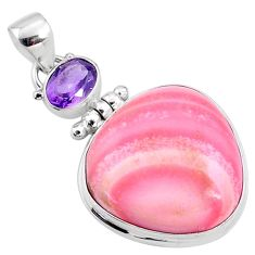 19.23cts natural pink opal amethyst 925 sterling silver pendant jewelry r66225