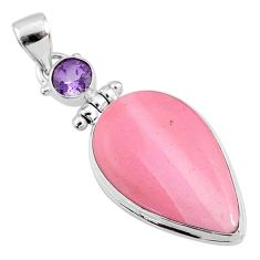 16.20cts natural pink opal amethyst 925 sterling silver pendant jewelry r66227