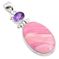 16.73cts natural pink opal amethyst 925 sterling silver pendant jewelry r66229