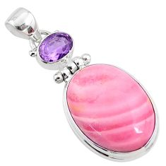 17.18cts natural pink opal amethyst 925 sterling silver pendant jewelry r66230