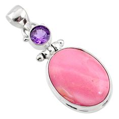 14.72cts natural pink opal amethyst 925 sterling silver pendant jewelry r66232