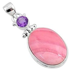 17.22cts natural pink opal amethyst 925 sterling silver pendant jewelry r66233
