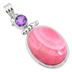 16.55cts natural pink opal amethyst 925 sterling silver pendant jewelry r66236