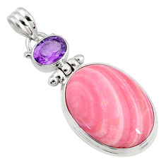 16.20cts natural pink opal amethyst 925 sterling silver pendant jewelry r66238