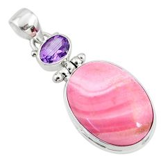 16.70cts natural pink opal amethyst 925 sterling silver pendant jewelry r66239