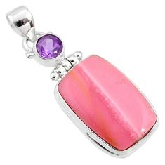 16.20cts natural pink opal amethyst 925 sterling silver pendant jewelry r66241