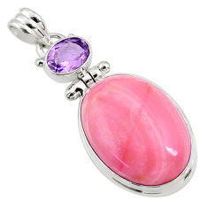 17.57cts natural pink opal amethyst 925 sterling silver pendant jewelry r66242