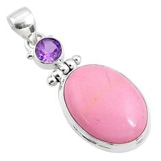 14.72cts natural pink opal amethyst 925 sterling silver pendant jewelry r66245