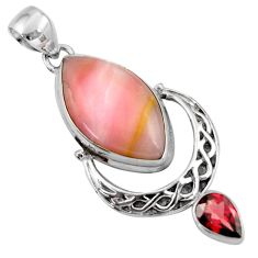 18.94cts natural pink opal garnet 925 sterling silver pendant jewelry r39137