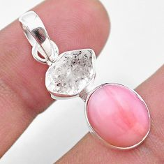 8.39cts natural pink opal herkimer diamond 925 sterling silver pendant t49081