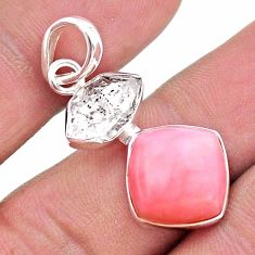 9.86cts natural pink opal herkimer diamond 925 sterling silver pendant t49084