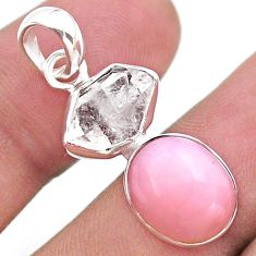 9.25cts natural pink opal herkimer diamond 925 sterling silver pendant t49086