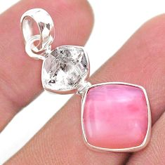 9.25cts natural pink opal herkimer diamond 925 sterling silver pendant t49087