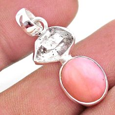 8.90cts natural pink opal herkimer diamond 925 sterling silver pendant t49089