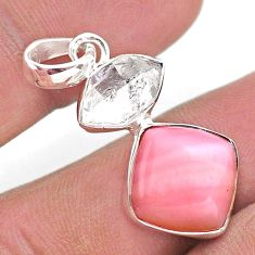 9.80cts natural pink opal herkimer diamond 925 sterling silver pendant t49094