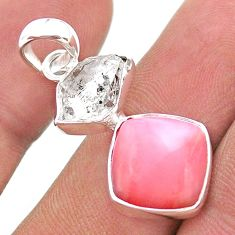 10.28cts natural pink opal herkimer diamond 925 sterling silver pendant t49095