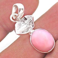 9.27cts natural pink opal herkimer diamond 925 sterling silver pendant t49099