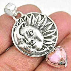 5.50cts natural pink opal in turquoise 925 silver sun moon face pendant r90402