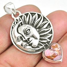 5.47cts natural pink opal in turquoise 925 silver sun moon face pendant r90408