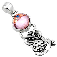5.09cts natural pink opal in turquoise 925 sterling silver owl pendant r52909