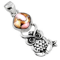 4.84cts natural pink opal in turquoise 925 sterling silver owl pendant r52910