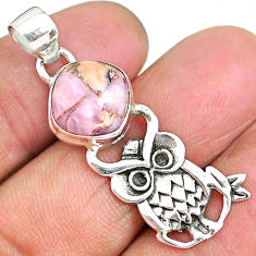 5.06cts natural pink opal in turquoise 925 sterling silver owl pendant r90497