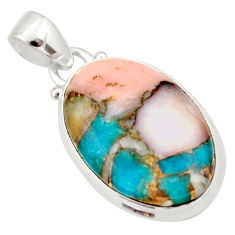 15.08cts natural pink opal in turquoise 925 sterling silver pendant r33748