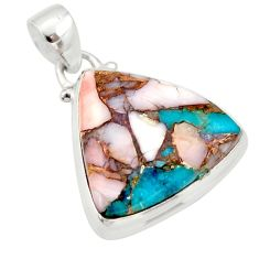 16.18cts natural pink opal in turquoise 925 sterling silver pendant r33754