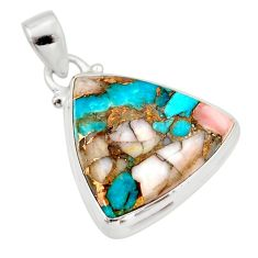 16.62cts natural pink opal in turquoise 925 sterling silver pendant r33755