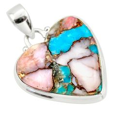 17.22cts natural pink opal in turquoise 925 sterling silver pendant r33773