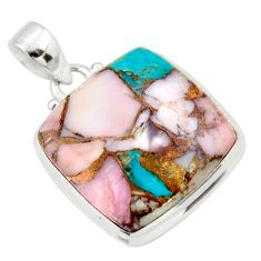 21.48cts natural pink opal in turquoise 925 sterling silver pendant r33809