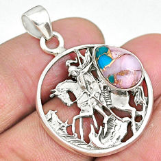 4.62cts natural pink opal in turquoise 925 sterling silver pendant r90387