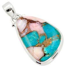17.22cts natural pink opal in turquoise pear 925 sterling silver pendant r33796