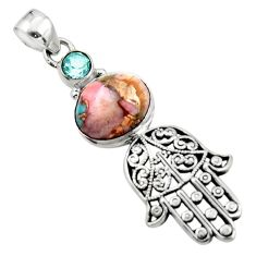 6.16cts natural pink opal in turquoise silver hand of god hamsa pendant r52825