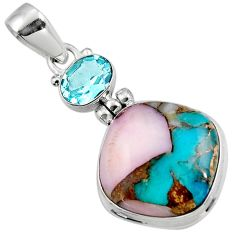 14.40cts natural pink opal in turquoise topaz 925 sterling silver pendant r47846