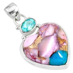 16.20cts natural pink opal in turquoise topaz 925 sterling silver pendant r83494