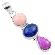 10.70cts natural pink opal kyanite phosphosider silver pendant jewelry t48450