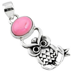 4.22cts natural pink opal oval 925 sterling silver owl pendant jewelry r52927
