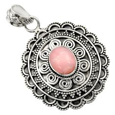 Clearance Sale- 4.34cts natural pink opal oval 925 sterling silver pendant jewelry d45065