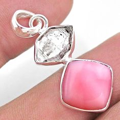 9.75cts natural pink opal oval herkimer diamond 925 silver pendant t49088