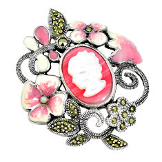 5.98cts natural pink opal pearl enamel lady face 925 silver pendant c21358