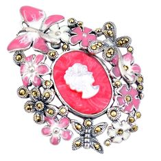 9.92cts natural pink opal pearl enamel lady face 925 silver pendant c16432