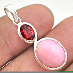 7.17cts natural pink opal red garnet 925 sterling silver pendant jewelry t43133