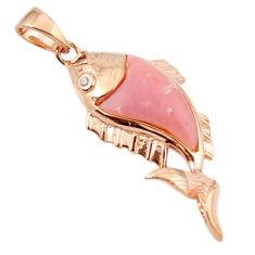 Natural pink opal topaz 925 silver 14k rose gold fish pendant a68486 c14062