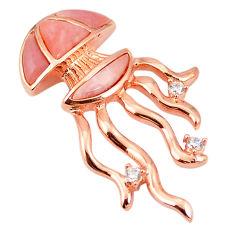 Natural pink opal topaz 925 silver 14k rose gold octopus pendant a76161 c15006