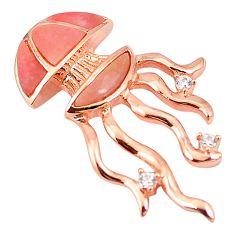 Natural pink opal topaz 925 silver 14k rose gold octopus pendant a76163 c15015