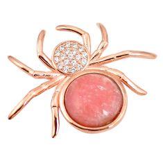 Natural pink opal topaz 925 silver 14k rose gold spider pendant a76157 c15394