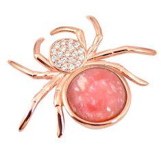 Natural pink opal topaz 925 silver 14k rose gold spider pendant a76159 c15386