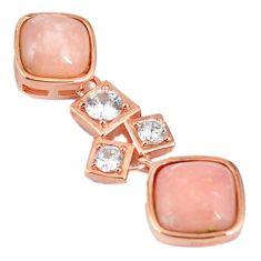 Natural pink opal topaz 925 sterling silver 14k rose gold pendant a59241 c14113