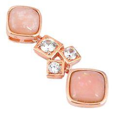 Natural pink opal topaz 925 sterling silver 14k rose gold pendant a59252 c14110